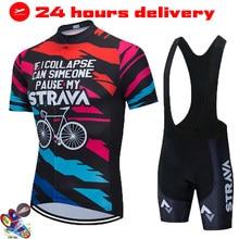 STRAVA Cycling Jersey Set Mountain Bike Uniforms Summer Cycling Wear Bicycle Clothing Men's Cycling Clothing MTB Bike Shirts