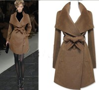 Autumn Winter Women Woollen Coat Fashion Slim Wool Women's Overcoat Medium Long Casacos Femininos