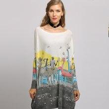 Женские Длинные свободные свитера вязаный пуловер оверсайз с
