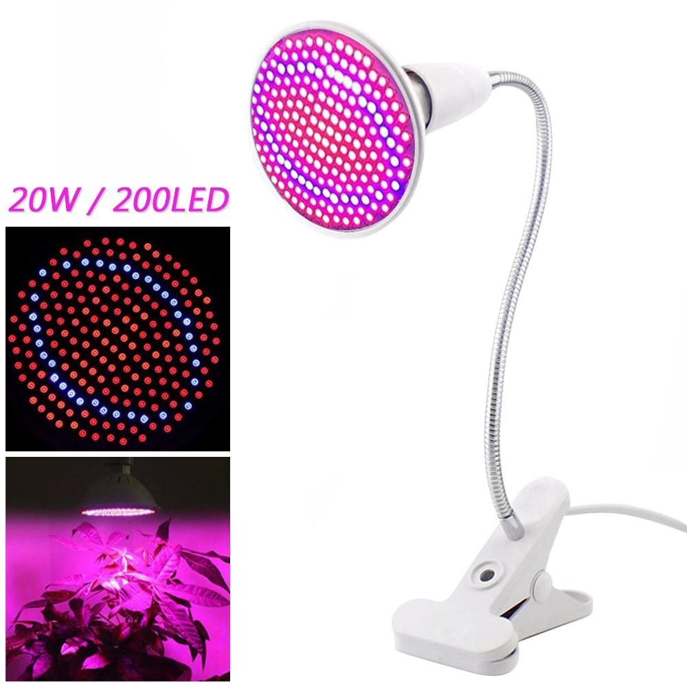 Dozzlor Phyto лампа полный спектр светодиодный светильник для выращивания E27 лампа для растений фитолампа для комнатных саженцев цветок фитолампия для выращивания палаток - Испускаемый цвет: EU Lamp with holder