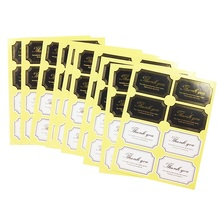 80Pcs/pack Black And White Thank You For Gift Cake Baking DIY Product Sealing Stickers