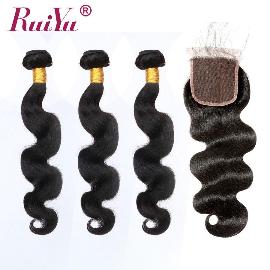 Brazylijski doczepy typu body wave z zamknięciem 5*5 koronka zamknięcie z wiązki Remy ludzki włos splot włosów z zamknięciem RUIYU włosów sprzedawców w 3/4 pasma z siateczką od Przedłużanie włosów i peruki na AliExpress - 11.11_Double 11Singles' Day 1