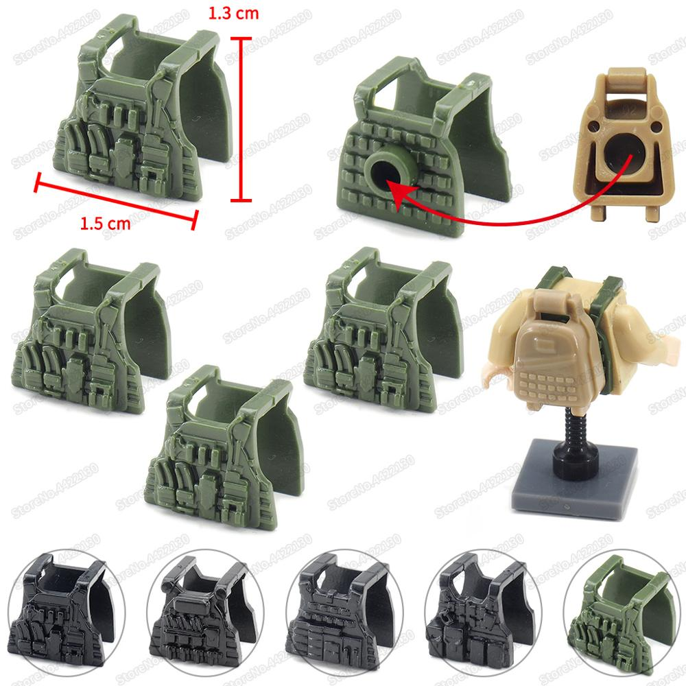 Equipment Military Soldier Features Tactics Vest Building Block Figures SWATinglys Body Armor Set Moc Army Model Child Gift Toys