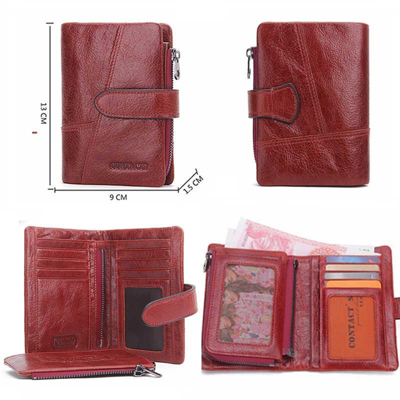 Marca de carteras de mujer de contacto diseño de alta calidad de cuero genuino cartera femenina Hasp moda dólar precio bolso largo titular de la tarjeta