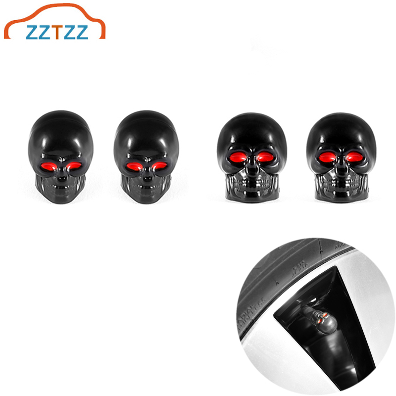 ZZTZZ 4Pcs/lot  Skull Moto Bicycle Car Tires Wheel Valve Cap Dust Cover Car Styling For Universal Cars Motorcycle Decorative