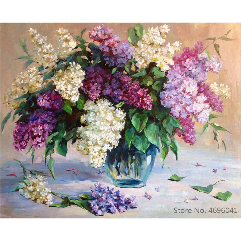 Painting By Numbers Frameworks Coloring By Numbers Home Decor Pictures Flowers Vase Decorations RSB8416