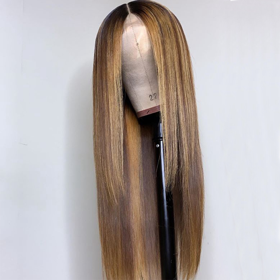 180% Density Brazilian Hair Highlight 13X6 Lace Front Wigs Glueless 360 Lace Frontal Straight Human Hair Wigs With Elastic Band