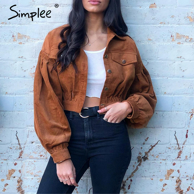 Simplee Casual corduroy buttons long sleeve jackets women 2019 Autumn winter office lady solid coat Female lapel short jackets