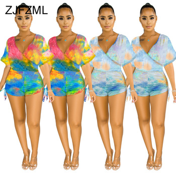 Rainbow Tie Dye Print Rompers Womens Jumpsuit Deep V Neck Short Sleeve Short Playsuit Summer High Waist Ruched Beach Bodysuits