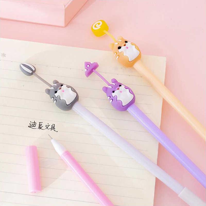 Nette Hamster Gel Stift Kawaii Schwarz Und Blau Tinte 0,5mm Büro Schreibwaren Schule Liefert Farbige Stift 1PCS