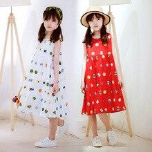 Summer Girls Dress 2020 Cotton Polka Dot Long Vest Frocks Big Girls Maxi Beach Sundress Korean Kids Clothes Children Boho Dress