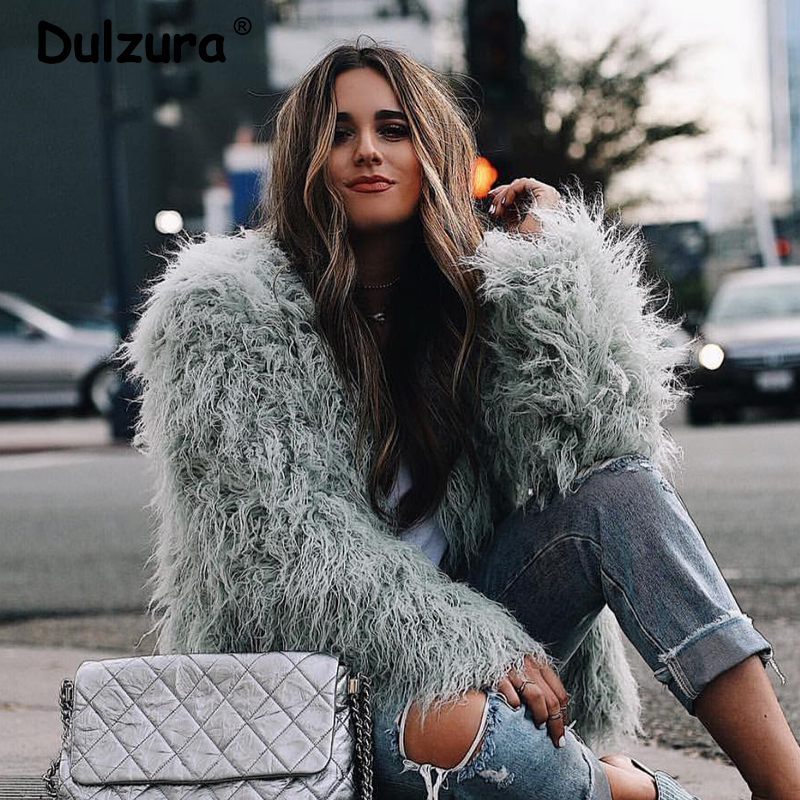 Winter Elegant Women Thick Mongolia Sheep Faux Fur Jacket Coat 2019 New Fashion Long-Sleeve Plush Overcoat Trend Streetwear