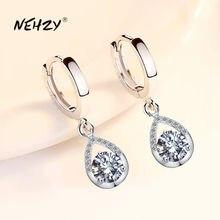 NEHZY-pendientes de plata de ley 925 para mujer, joyería a la moda, circonio de cristal blanco rosa y azul, aretes largos retro con borlas