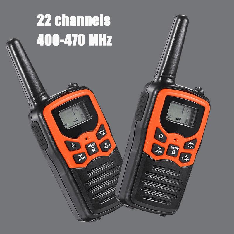 2Pcs 2-Way Kids Walkie Talkie 10KM 400-470Mhz Mini Radio For Children Outdoor Intercom Toy Gift With LED Flashlight 22 Channels