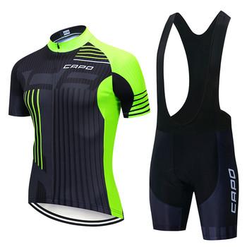 2021 CAPO fluorescencyjny zielony i czarny odzież rowerowa koszulka rowerowa Quick Dry męskie rowery odzież Team kolarstwo żelowe spodenki rowerowe zestaw tanie i dobre opinie CN (pochodzenie) 100 poliester 100 Polyester Z krótkim rękawem Bezpośrednia sprzedaż z fabryki 80 poliestru i 20 materiału Lycra