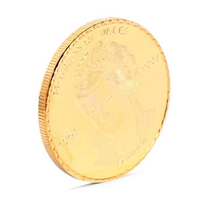 ديانا أميرة ويلز مطلية بالذهب الوردي تذكارية عملة تحصيل الفن هدية