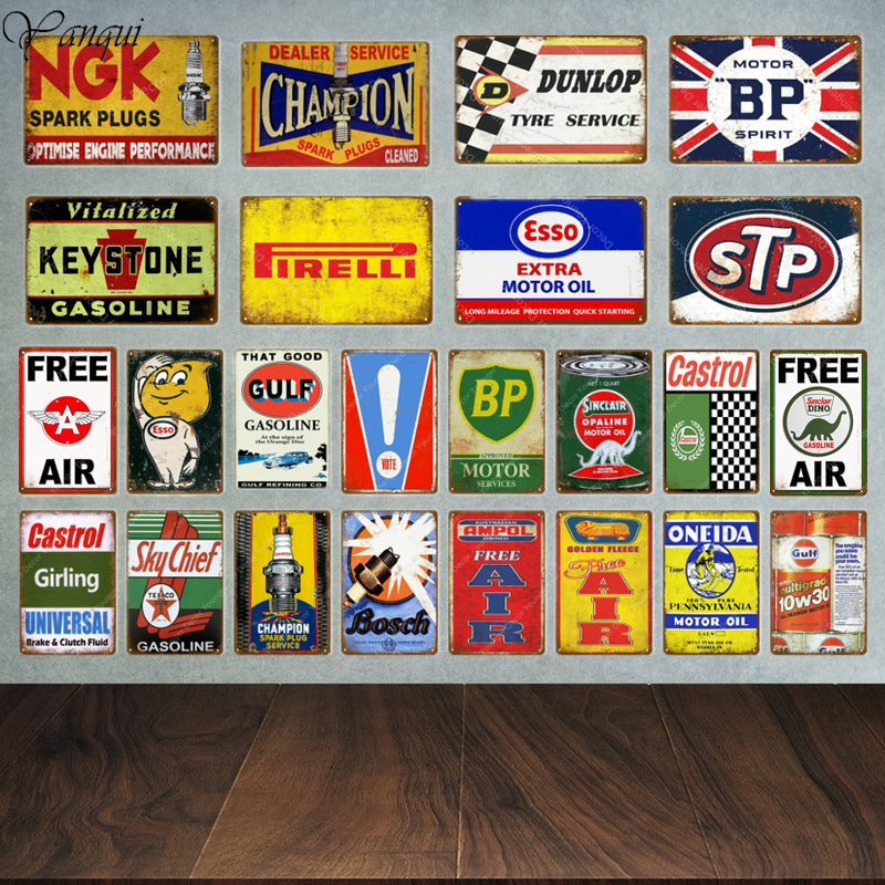 Tyre Poster Metal Vintage Tin Signs Wall Decorative Plaque Garage Decor Motor Oil Gasoline Spark Plugs Advertising Plate YA012(China)