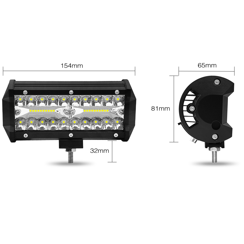 120W 7inch Car LED Work Light Bar Two-Row Work Light 12V 24V For Driving Offroad Boat Car Tractor Truck 4x4 SUV ATV