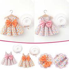 Sukienka dla dziewczynki maluch dziecko dziewczynka lato z kokardą, z nadrukiem sukienka na szelkach z kapeluszem dziewczynka swobodne sukienki sukienki dla dzieci