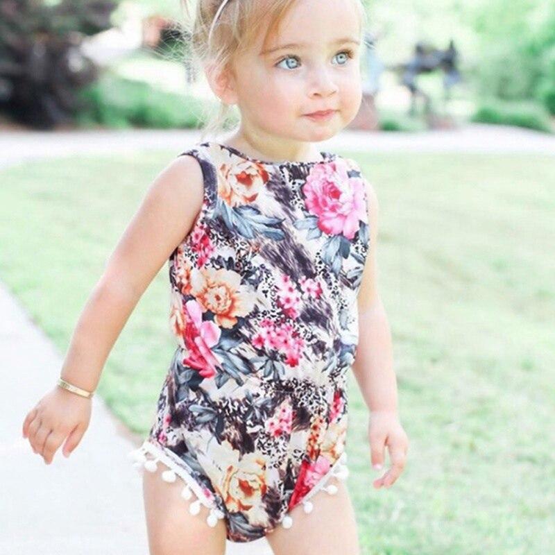 Swimwear Baby Swimsuit Girls Clothes Cotton Cute Fashion Print Fringed Small Ball Sleeveless Romper
