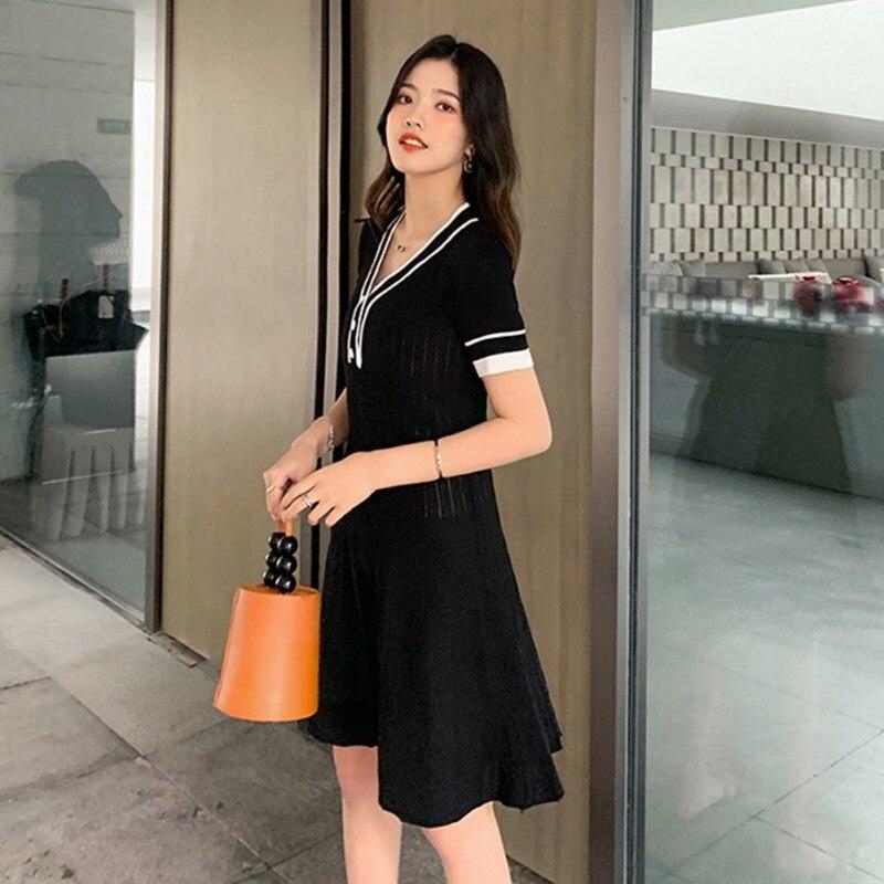 2019 Summer New Women Dress Fashion Sweet Summer Silk Dress Deep V Neck Color Block Ruffles Temperament High Waist Mini Dress in Dresses from Women 39 s Clothing