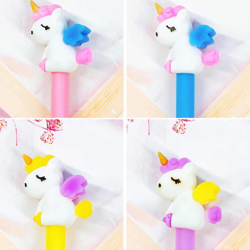 ขายร้อน 1 Pcs เกาหลีเครื่องเขียนน่ารัก Kawaii 3D Unicorn Horse Angel เจลปากกาสำนักงานโรงเรียน Supply นวนิยายสร้างสรรค์ของขวัญจับ