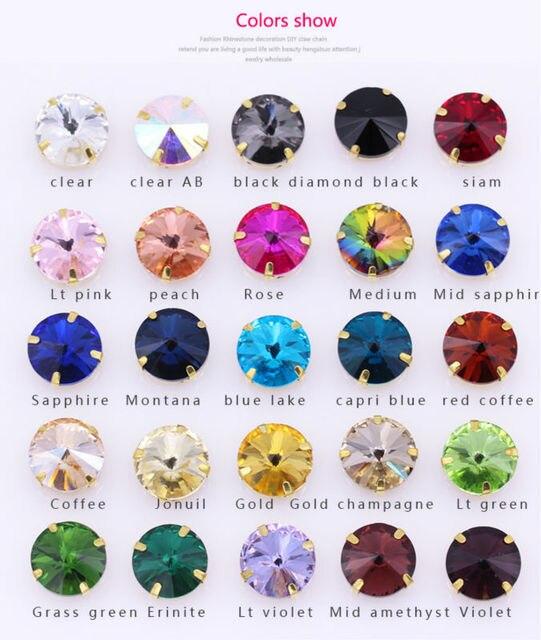 Toutes les tailles 25-couleurs 6-25mm Rivoli rond couture verre pierre or griffe coudre sur cristal strass pour robe de mariée fabrication de bijoux