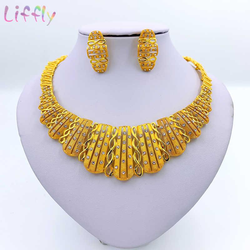 Liffly luxo dubai conjuntos de jóias de ouro para mulheres colar africano contas conjunto de jóias turquia nupcial acessórios de casamento