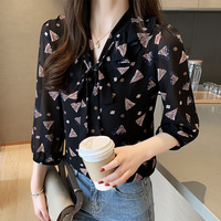 V neck Three quarter length Sleeve Printed Loose Fit Lace up Chiffon Blouse Shirt Tops Women's Korean style CHIC Large Size Shir