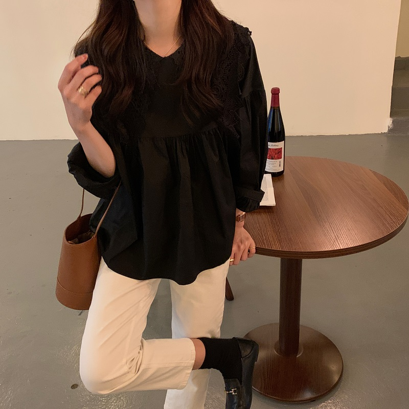 H77187947d8da4177a5217442ee9dd7a8I - Spring / Autumn Butterfly Lace Collar Long Sleeves Solid Blouse