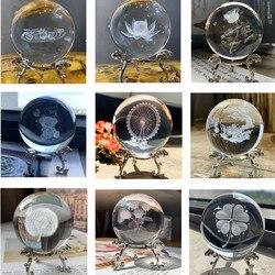 H & D 9 Estilos 3D Gravado A Laser 60 milímetros Cura Bola Esfera De Vidro Bola de Cristal Figurinhas Colecionáveis Casa Casamento decoração Artesanal Dom