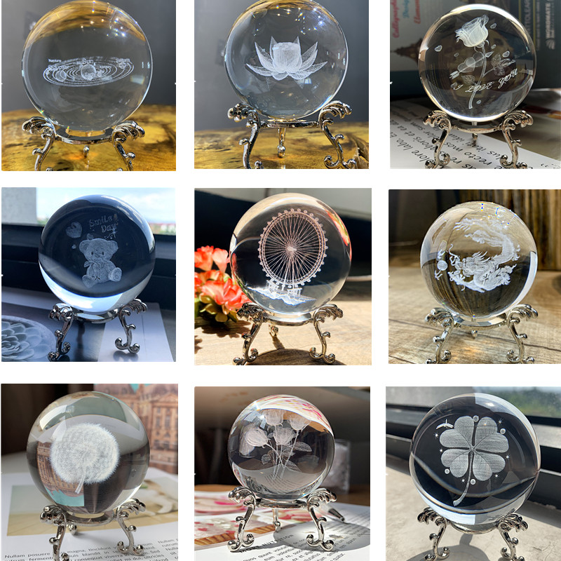 H&D 9 Styles 3D Laser Engraved Crystal Ball Figurines 60mm Healing Glass Ball Sphere Collectible Home Wedding Decor Gift Craft
