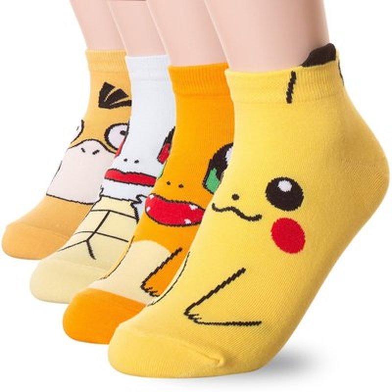 Pokemon bonito anime figuras psyduck pikachu meia para crianças ir cosplay adereços acessórios meias impressão dos desenhos animados tornozelo meia curto
