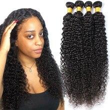 Missblue 30 Polegada pacotes indiano kinky curly pacotes 100% parte superior do cabelo humano pacote tecer nenhum derramamento remy extensão do cabelo humano jerry