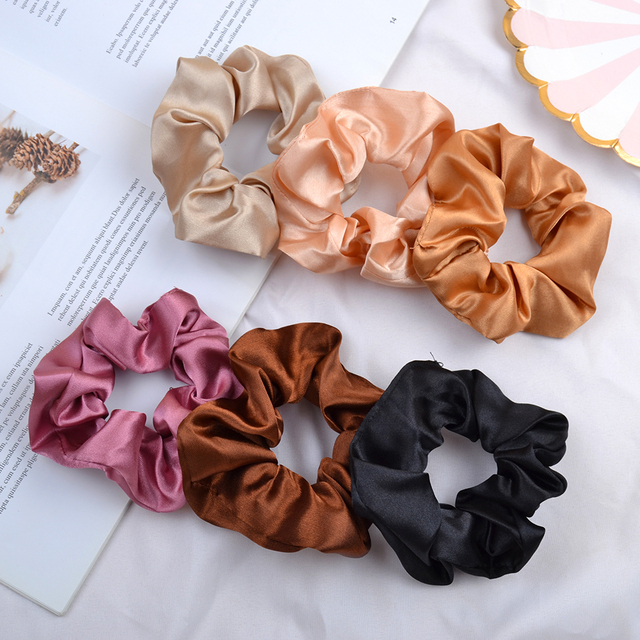 3.9 inch Women Silk Scrunchie Elastic Handmade Multicolor  Hair Band Ponytail Holder Headband Hair Accessories 1
