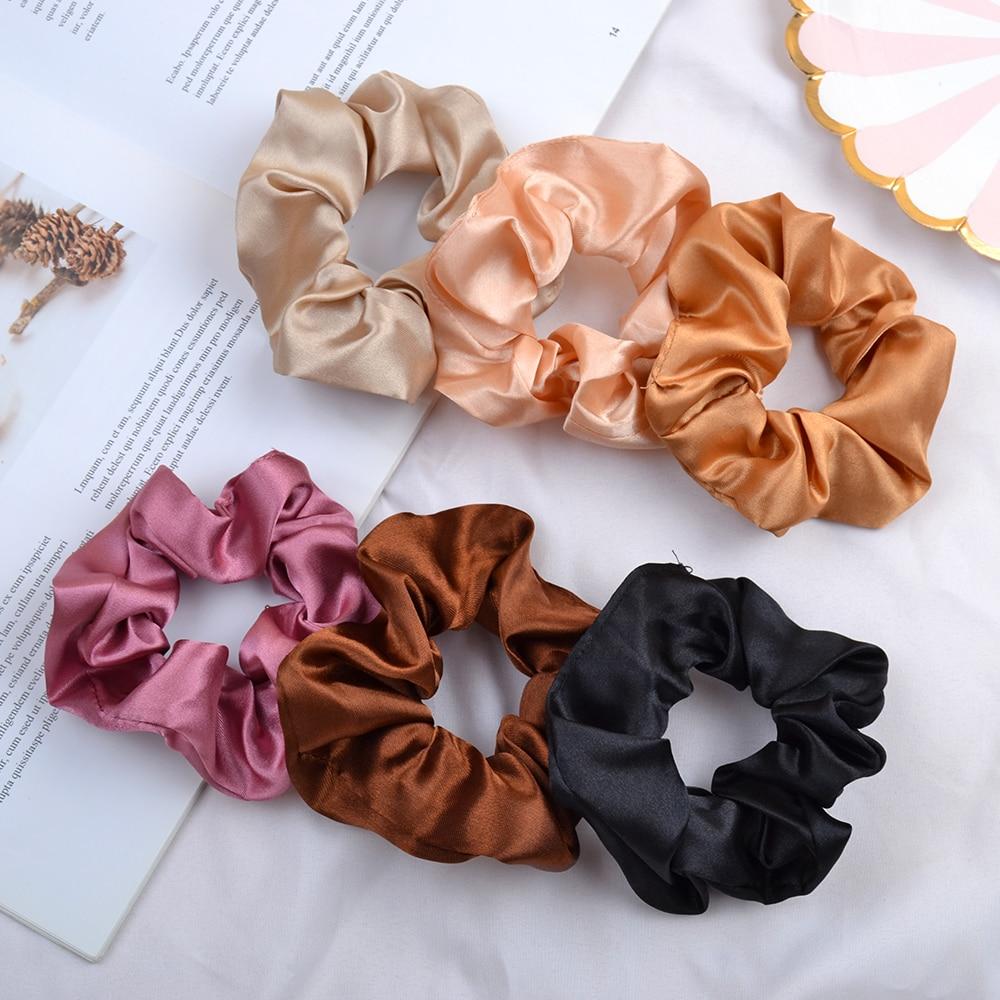 3.9 inch Women Silk Scrunchie Elastic Handmade Multicolor Hair Band Ponytail Holder Headband Hair Accessories