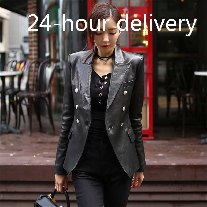 High Street Women PU Leather Jacket Fashion Double-breasted Slim Jacket Female Faux Leather Outerwear 2019 Winter Coat