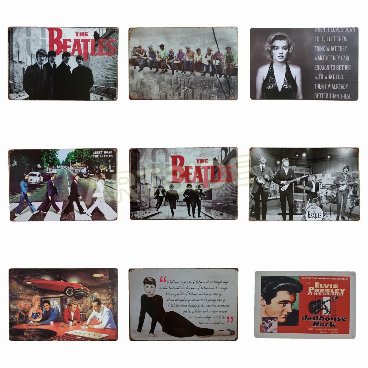 Голливудская Закусочная, металлическая жестяная вывеска группы The Beatle, настенное украшение в винтажном стиле, декор для кофе и бара