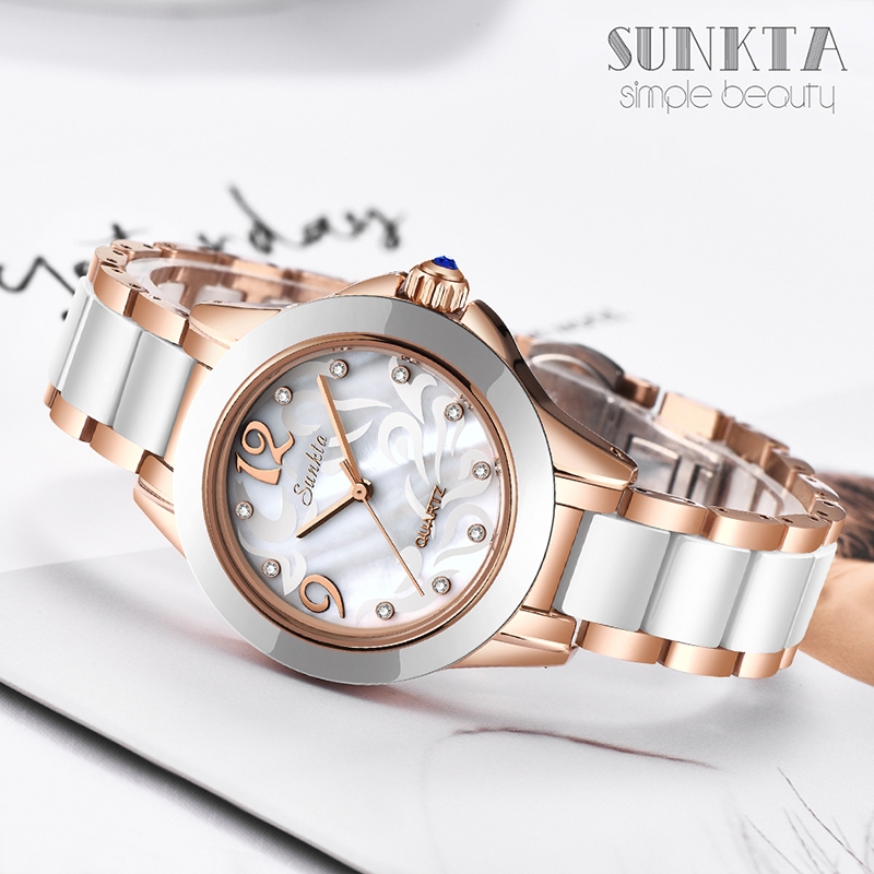 SUNKTA Luxury Crystal Watch Women Gift Waterproof Rose Gold Ladies Wrist Watches Top Brand Bracelet Clock Relogio Feminin Hot