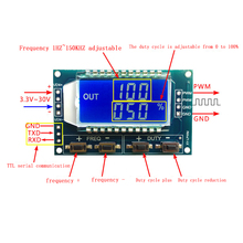 1Hz-150Khz Signal Generator PWM Board Module Pulse Frequency Duty Cycle Adjustable Module LCD Display 3.3V-30V 1Hz - 150Khz