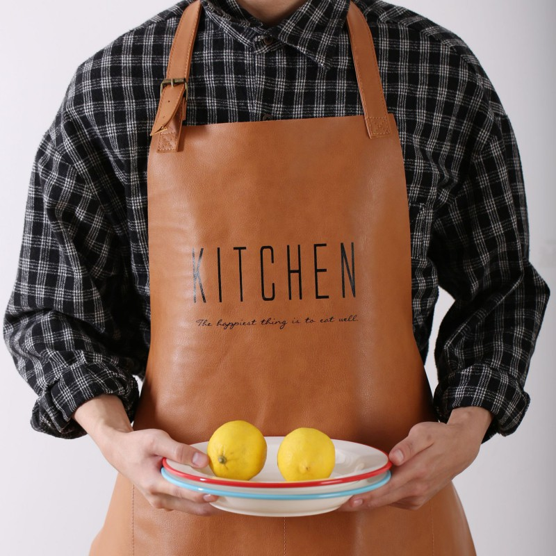 Leather Waterproof Cooking Kitchen Apron For Woman Men Chef Waiter Cafe Shop BBQ Aprons English Letter Pattern Small Gift