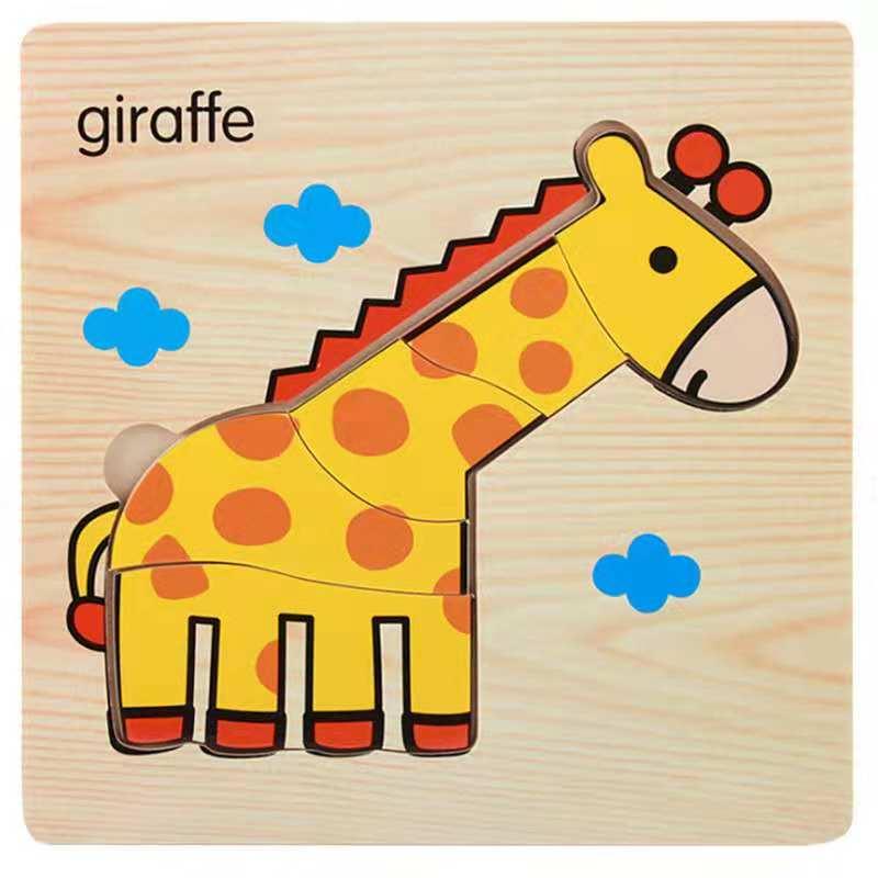 3D деревянные головоломки, игрушки для детей, Деревянные 3d Мультяшные головоломки с животными, интеллектуальные детские развивающие игрушки для детей - Цвет: Фиолетовый