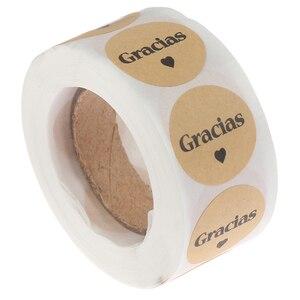 500 шт., испанские натуральные крафт-грации, благодарим Вас, наклейки для печати этикеток, наклейки для упаковки, скрапбукинга, стикер для кан...