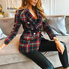 Red Plaid Blazer 2020 Women Spring-Autumn Vintage Tweed Suits Jackets Office Lad