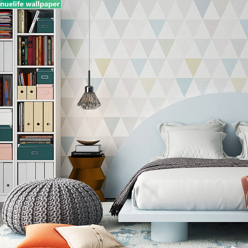 >Colorful geometric diamond pattern non-woven wallpaper shop bedroom <font><b>office</b></font> <font><b>study</b></font> <font><b>living</b></font> room TV background wall wallpaper