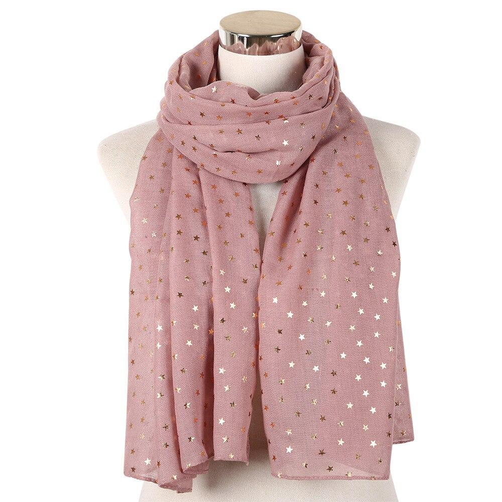 2019 New Fashion Foil Star Scarf Shawl Navy Glitter Pink Gold Foulard Ladies Wrap Female