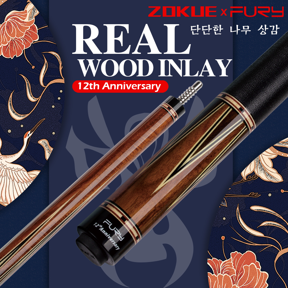 FURY ZOKUE Carom Cue 3 Cushion Game Cue Stick Professional Carom Billiard Cue Korean Taper 11.8mm Tip  Selected Canadian Maple