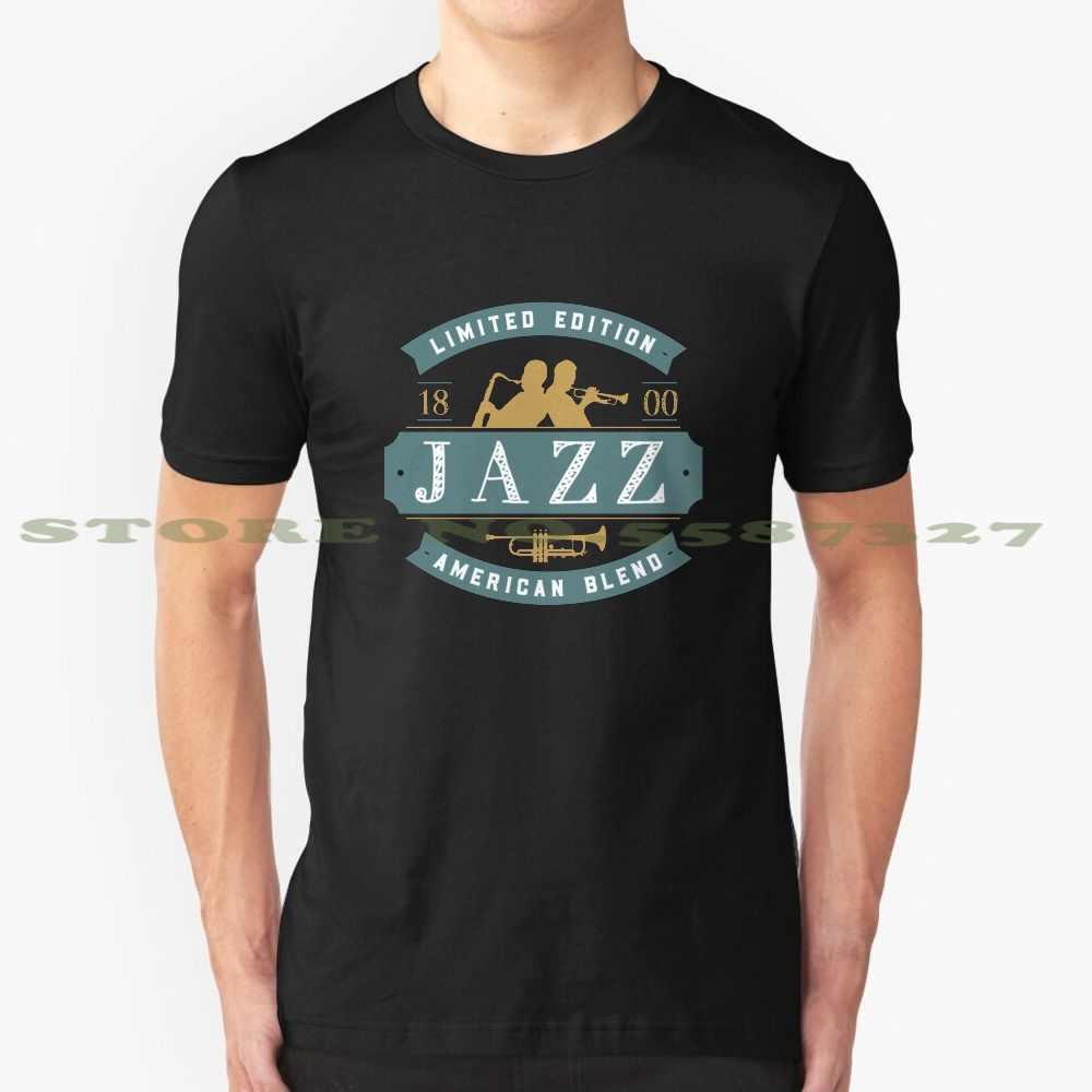 Vintage caz rozeti sahip caz müzisyenler siyah beyaz tişört erkekler kadınlar için trompet trompet oyuncu Jazzworldquest caz trompet