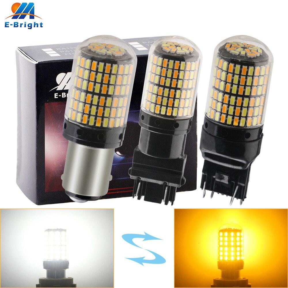 2-pack dc dupla cor p21/5w 1157 bay15d 3014 168 smd 3157 7443 w21w switchback lâmpadas led luz do dia transformar a luz do sinal branco âmbar