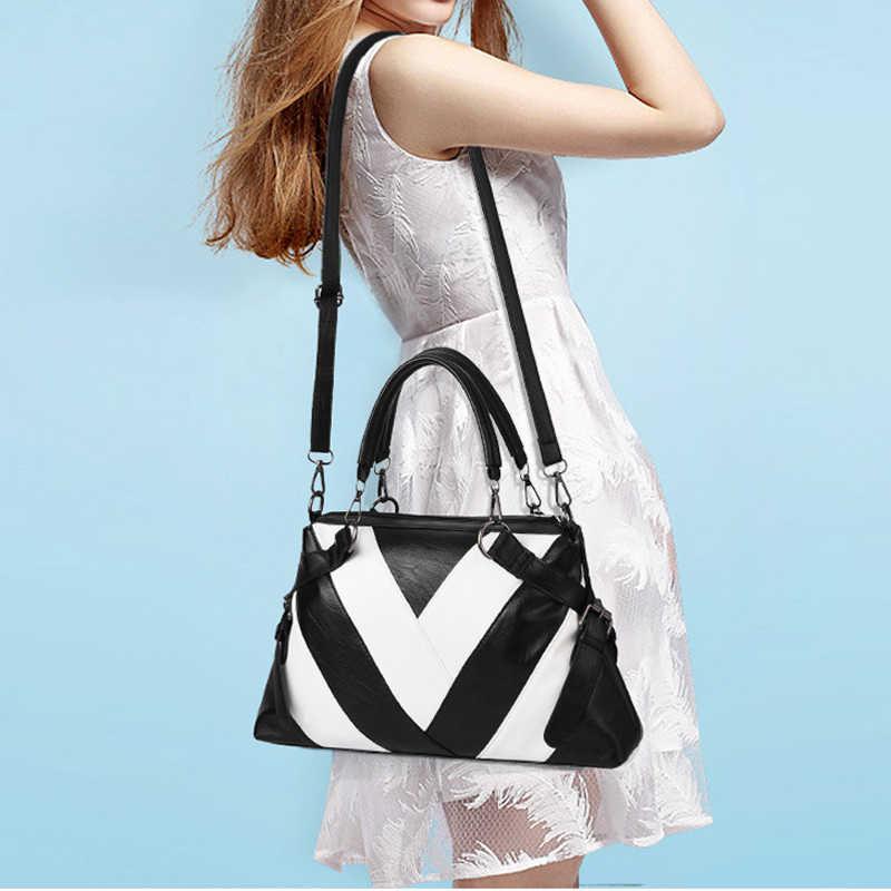 Patchwork torba na ramię kobiety projektant torebka torba damska PU skóra Crossbody torba kobieta solidna kolorowa torba